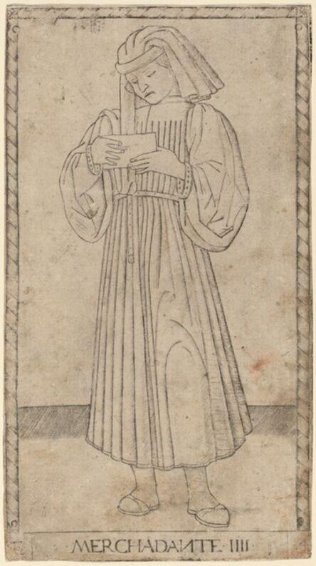 Master of the E-Series Tarocchi, 'Merchadante (Merchant)', ca. 1465