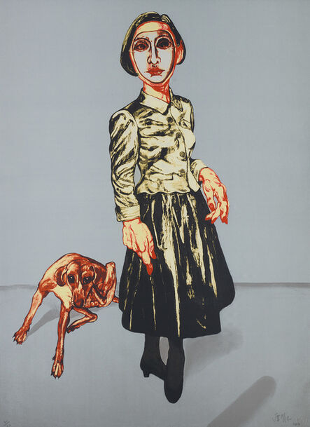 Zeng Fanzhi 曾梵志, 'Woman and Dog, from Mask Series', 2006