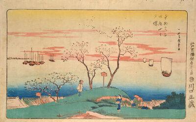 Utagawa Hiroshige (Andō Hiroshige), 'Evening Cherry Blossoms at Mt. Goten', ca. 1830-1832