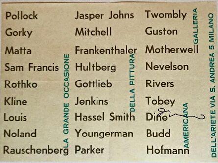 Jim Dine, 'La Grande Occassione Della Pittura Americana Milano (Hand Signed by Jim Dine)', 1963