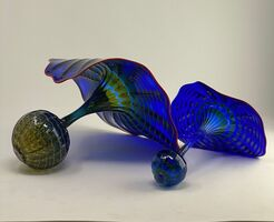 Dale Chihuly, 'Dale Chihuly Cobalt Persian Set with Cadmium Red Lip Wraps Handblown Glass Art', Unknown