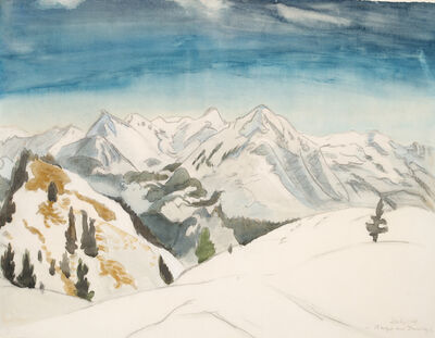 Erich Heckel, 'Berge am Inntal', 1949
