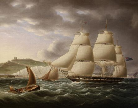James E. Buttersworth, 'Naval Frigate Sailing Past Dover Castle', 1850-1855