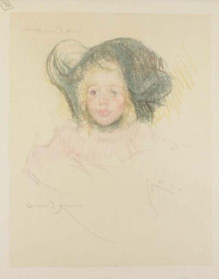 Mary Cassatt, 'Head of Simone in a Green Bonnet with Wavy Brim (No. 2)', ca. 1901