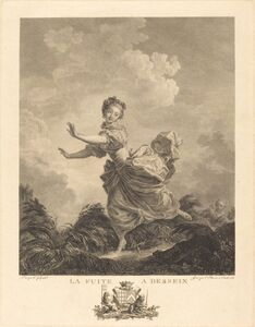 Charles François Adrien Macret and Jacques Couché after Jean-Honoré Fragonard, 'La fuite a dessein', 1783