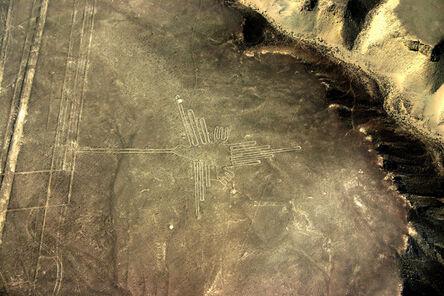 'Earth drawing (geoglyph) of a hummingbird, Nazca Plain', ca. 100 B.C - 700 CE