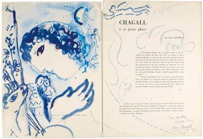 Marc Chagall, 'Profil bleu du peintre pour les amis Cain', 1957