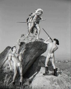 Bob Mizer, 'Steve Wengryn, Don Fuller and Joe Leitel (western #8), Mojave Desert, California', 1956