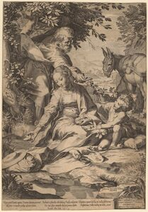 Cornelis Cort after Federico Barocci, 'The Rest on the Return from Egypt', 1575