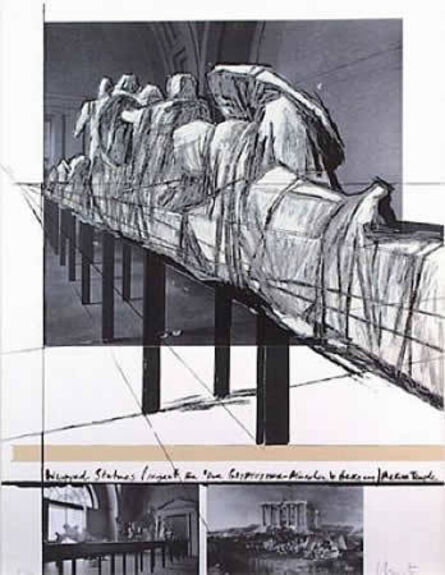 Christo, 'Wrapped Statues - Project For Derglypotek-Munchen, West Germany Aegina Temple ', 1988