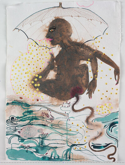 Rina Banerjee, 'Rain waters wrinkled and umbrellas widened while she curled endlessly liberating her ethnography to customs, castes, classes, exotic details and art historical references, scientific jargon... all salted with human tongue and check', 2009