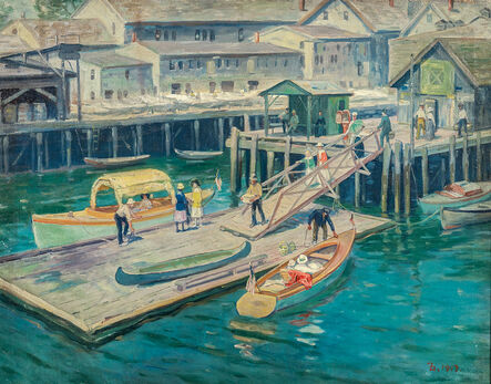 Frank Duveneck, 'The Wharf at Gloucester Harbor', 1917