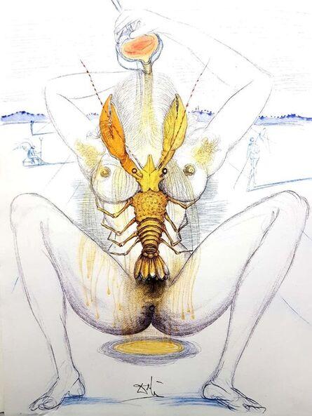 "Salvador Dalí, 'Original Etching ""Nude and Lobster"" by Salvador Dali', 1967"