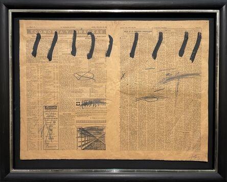 Antoni Tàpies, 'Paper de diari amb nou ratlles', 1969