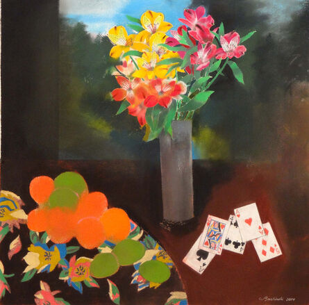 Walter Bachinski, 'Flowers in Gray Vase with Playing Cards'