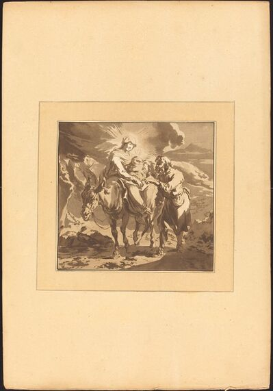 Johann Gottlieb Prestel after Nicolaes Pietersz Berchem, 'The Flight into Egypt', published 1782