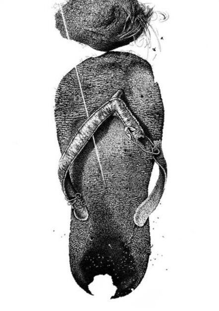 """Pratap Chandra Chakraborty, 'Strike with Head after Stumbling, Pen & Ink on Paper by Contemporary Indian Artist """"In Stock""""', 2017"""