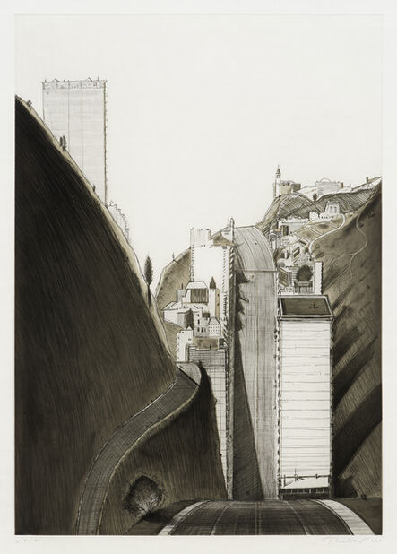 Wayne Thiebaud, 'Black and White Park Place', 1995