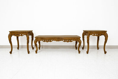 French Provincial/Italian Baroque, 'Solid Carved Maple Wood French Provincial 3 Piece Set of Tables', 1990's