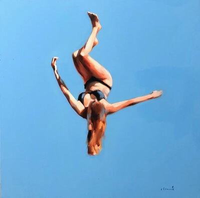 """Elizabeth Lennie, '""""Blue Skies 3"""" oil painting of a girl flipping in the air with blue sky behind', 2020"""