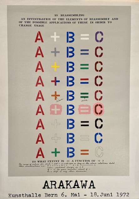Shusaku Arakawa, 'Arakawa, Kunsthalle Bern 6. Mai - Juni 1972, Hand Printed Silkscreen Museum Exhibition Poster', 1972