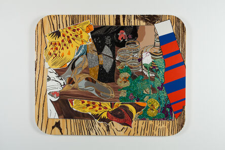 Mickalene Thomas, 'Still Life with black and white panther', 2009