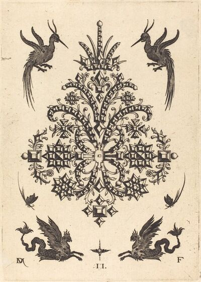 Daniel Mignot, 'Brooch with Tablestones and Winged Griffins Above and at Bottom', 1596