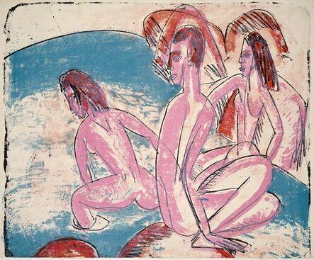 Ernst Ludwig Kirchner, 'Three Bathers by Stones (Drei Badende an Steinen)', 1913