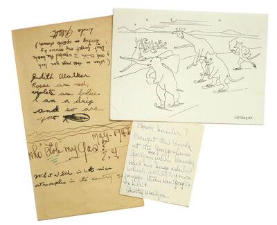 Alexander Calder, 'Animals Skating + 2 Walker family notes', 1943-1948