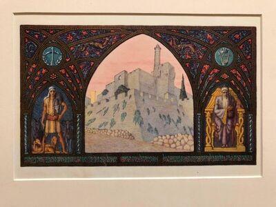 Zeev Raban, 'Rare Judaica Jerusalem Bezalel Zeev Raban Chromolithograph (made in Palestine)', Early 20th Century
