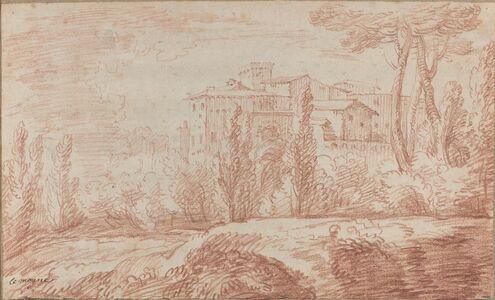 François Le Moyne, 'An Italian Walled Town Seen through Trees', ca. 1724