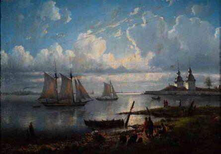 J. Marck, 'Landscape with Boats ', 1861
