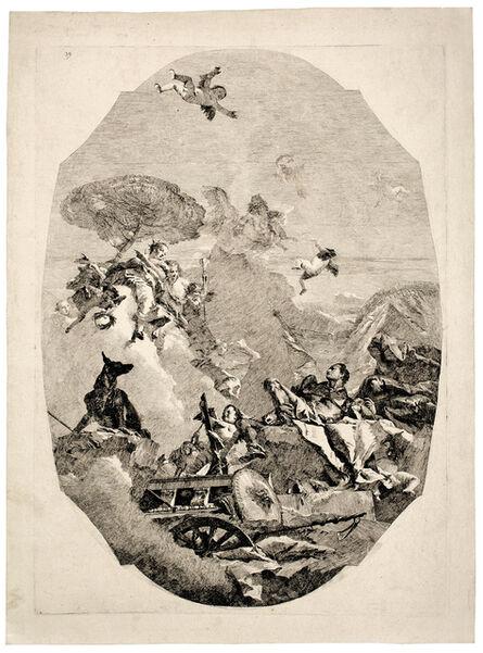 Lorenzo Baldissera Tiepolo after Giovanni Battista Tiepolo, 'The Three Graces with Mars', ca. 1760