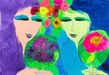 Walasse Ting 丁雄泉, 'Purple Twin, Blue Twin'