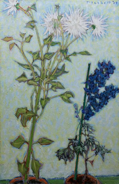 Joseph Plaskett, 'White Dahlia,Blue Delphinium,2003,oc,39.3x25.5', 2003