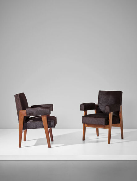 Le Corbusier, 'Pair of 'Advocate and Press' armchairs, model no. LC/PJ-SI-41-A, designed for the High Court, Chandigarh', circa 1955