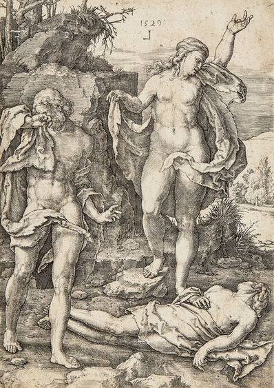 Lucas van Leyden, 'Adam and Eve Lamenting the Dead Abel, from The Story of Adam and Eve', 1529