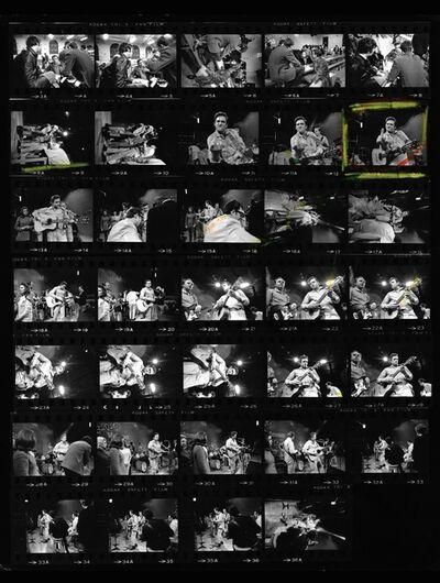Jim Marshall, 'Johnny Cash proof sheet, Flipping the bird at San Quentin Prison', 1969