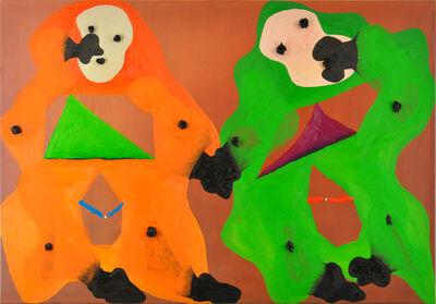 Philipp Schwalb, 'Zwei-Wezen-Begegnung (HALLA! - SPIIELO!/erscheinend? - grenzend?/1€) - 3¥)', 2013