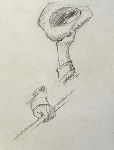 N.C. Wyeth, 'Untitled Study (hand waving a hat; hand holding a rod)', Unknown