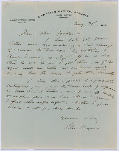 John Singer Sargent, ' Letter to Isabella Stewart Gardner from Mount Stephen House, Field,', August 31-1916