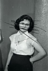 "Akram Zaatari, 'Damage Negatives: Scratched Portrait of Mrs. Baqari. From the series ""Photographic phenomena""', 2012"