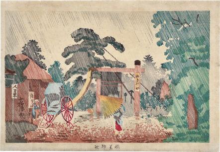 Kobayashi Kiyochika 小林清親, 'Umewaka Shrine', ca. 1879-81