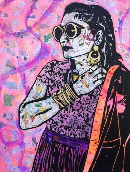 Amy Smith, 'I Am - Contemporary Female Pop Portrait - (Magenta + Pink + Black + White)', 2021