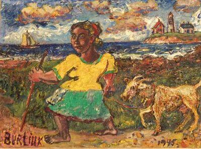 David Burliuk, 'Woman and Goat', 1945