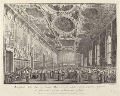 Giovanni Battista Brustolon after Canaletto, 'The Doge Returns Thanks in the Sala del Consiglio Maggior', 1763/1766