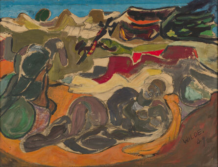 Gerald Wilde, 'Rocky Landscape with Old Man and Bird', 1949