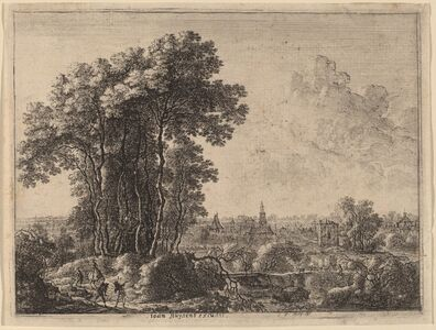 Gilles Neyts, 'Landscape with Horseman and Three Travelers'