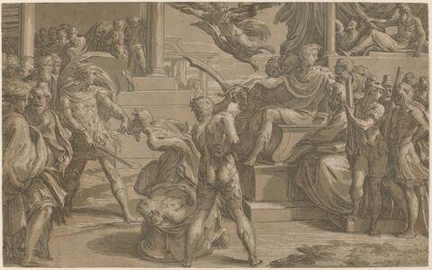 Antonio da Trento after Parmigianino, 'The Martyrdom of Two Saints [recto]', ca. 1530