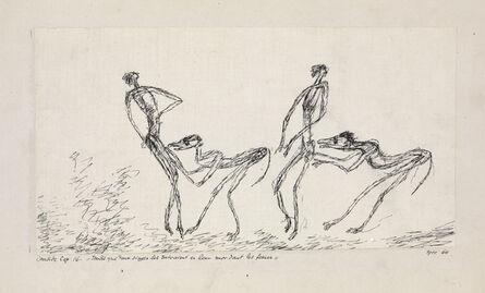 Paul Klee, 'Candide, Chapitre 16: Tandis que Deux Singes les Suivaient en leur Mordant les Fesses', 1911